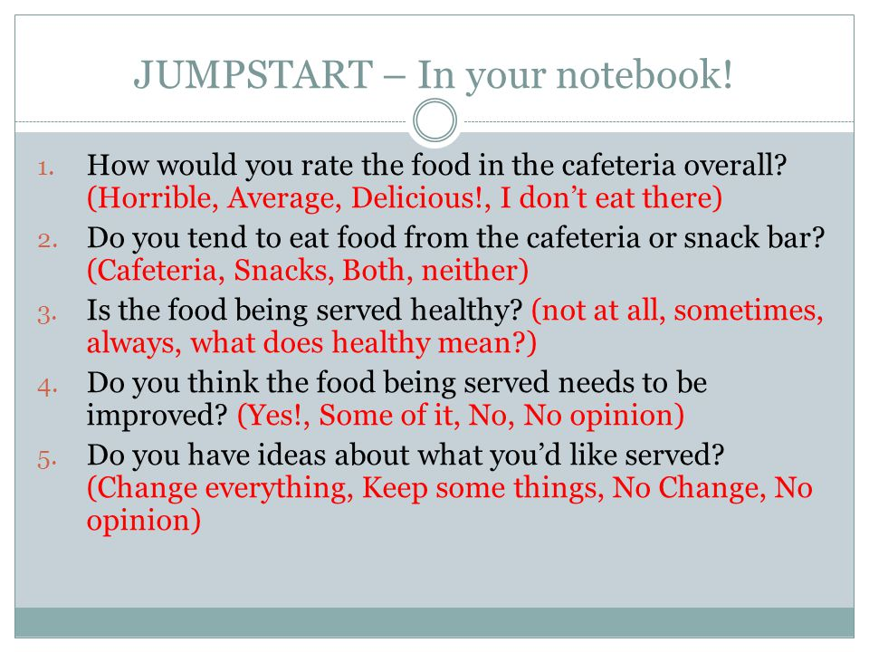 JUMPSTART – In your notebook!