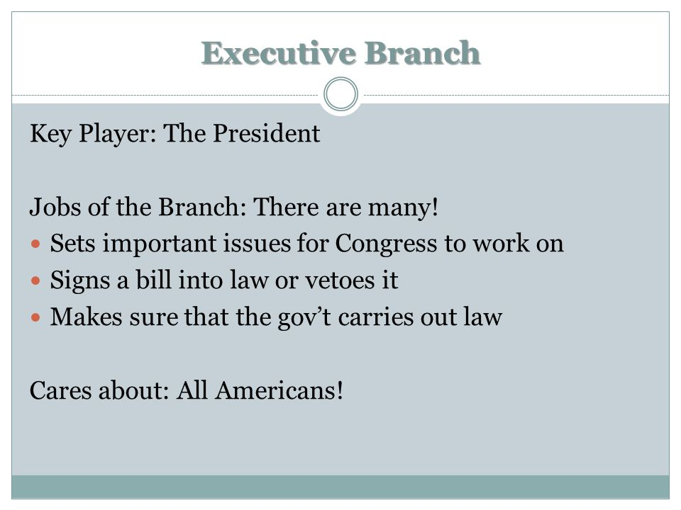 Executive Branch Key Player: The President