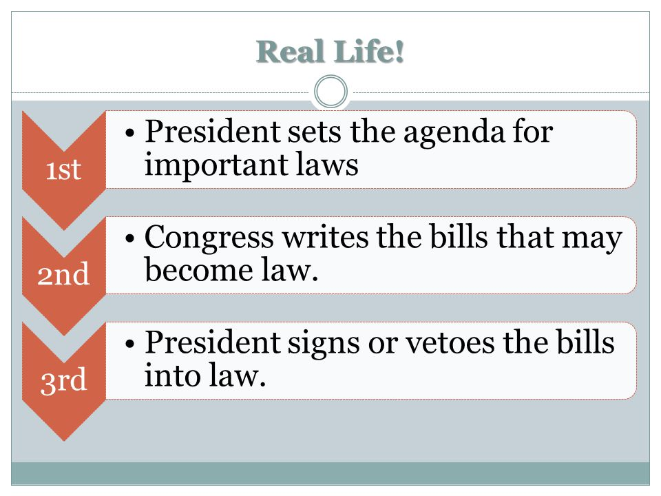 Real Life! 1st President sets the agenda for important laws 2nd