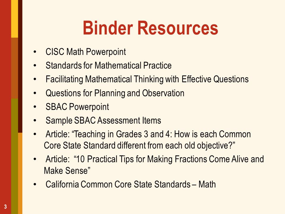 Binder Resources CISC Math Powerpoint