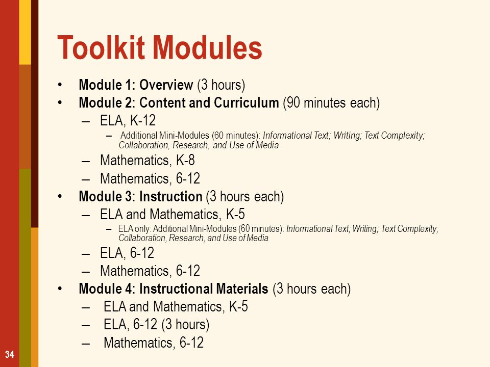 Toolkit Modules Module 1: Overview (3 hours)