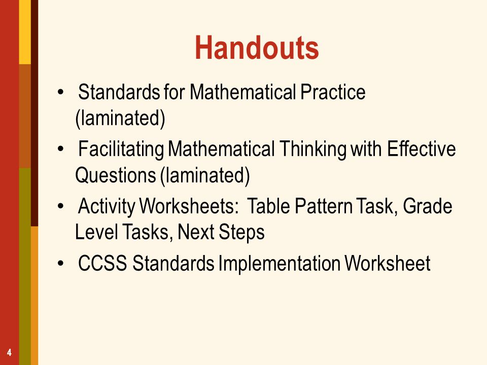 Handouts Standards for Mathematical Practice (laminated)