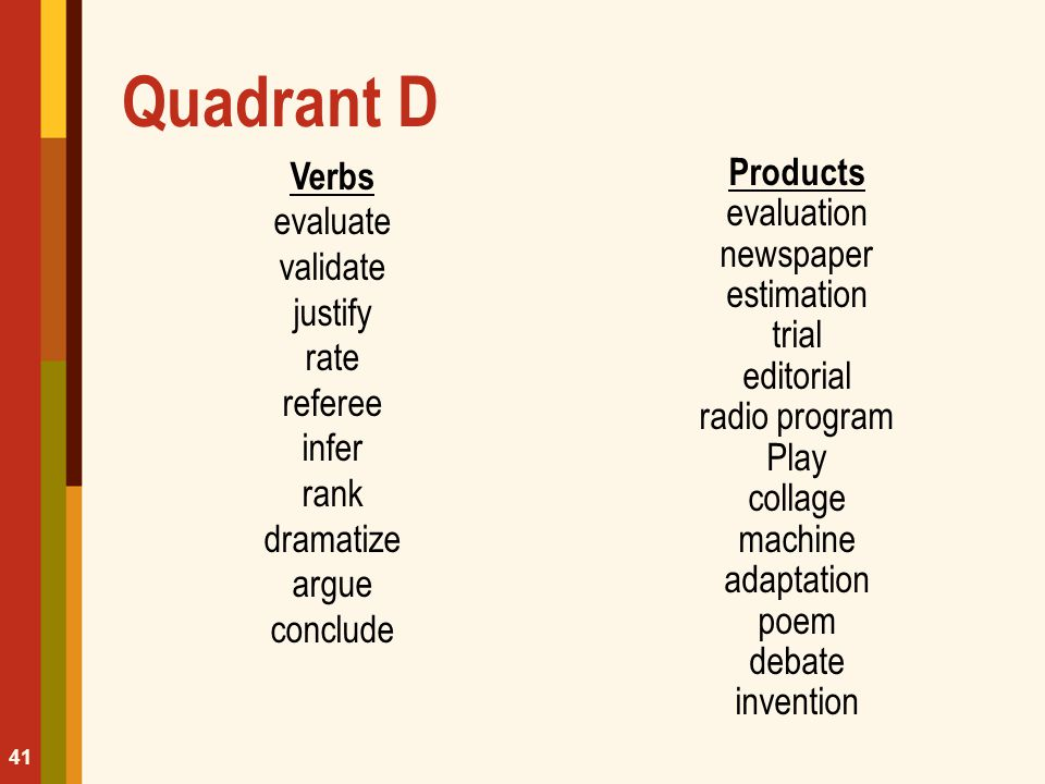 Quadrant D Verbs evaluate validate justify rate referee infer rank dramatize argue conclude