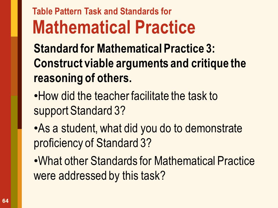 Table Pattern Task and Standards for Mathematical Practice