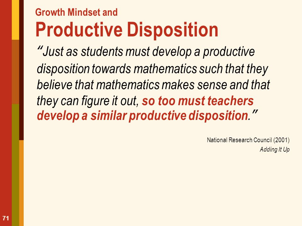 Growth Mindset and Productive Disposition