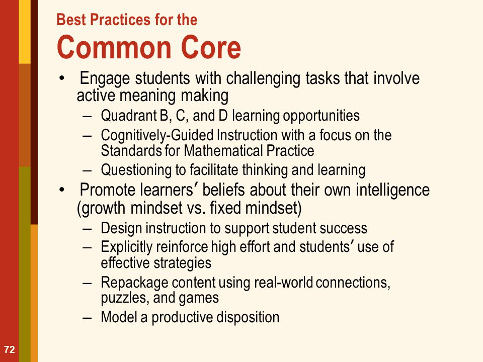 Best Practices for the Common Core