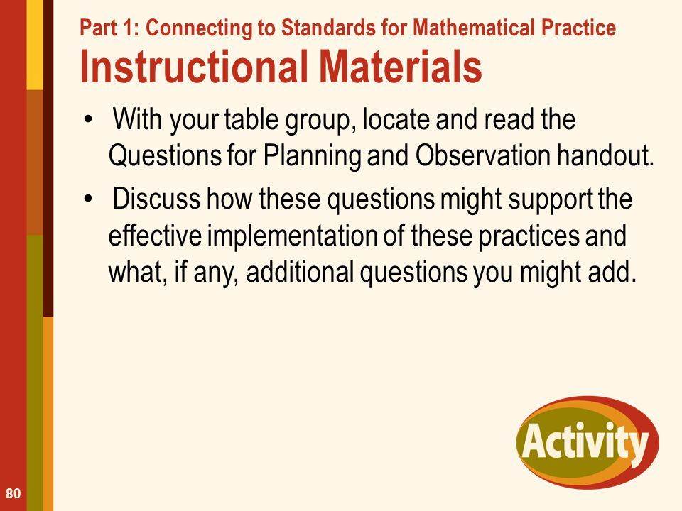Part 1: Connecting to Standards for Mathematical Practice Instructional Materials
