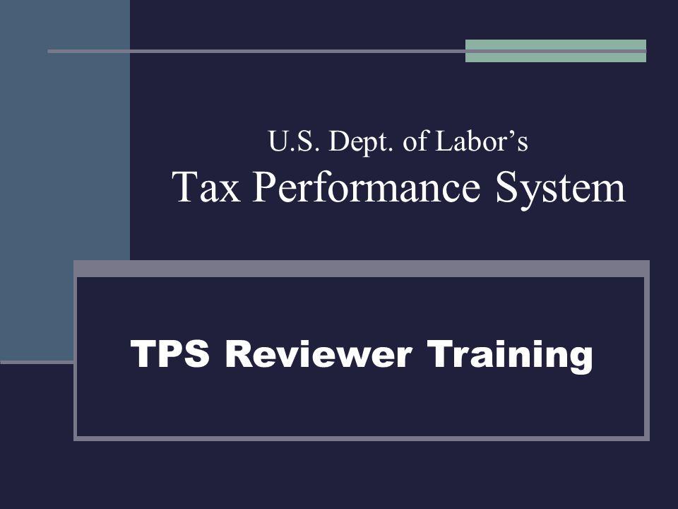 U.S. Dept. of Labor's Tax Performance System