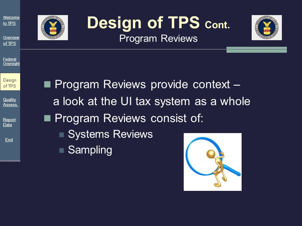 Design of TPS Cont. Program Reviews