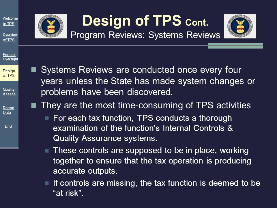 Design of TPS Cont. Program Reviews: Systems Reviews