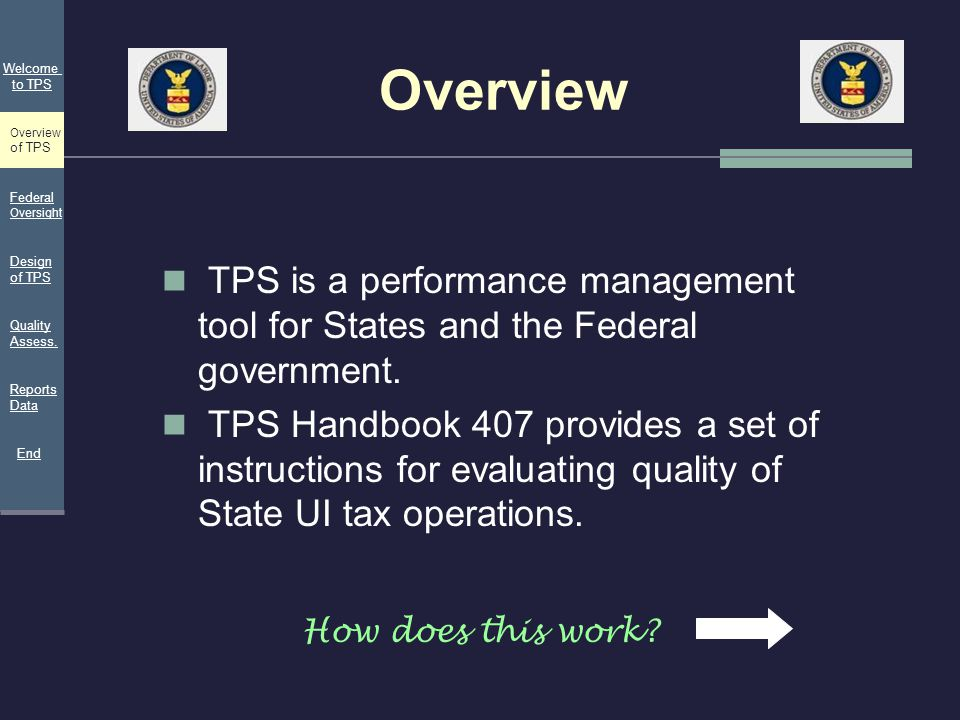 Overview Welcome. to TPS. Overview. of TPS. Federal Oversight. TPS is a performance management tool for States and the Federal government.