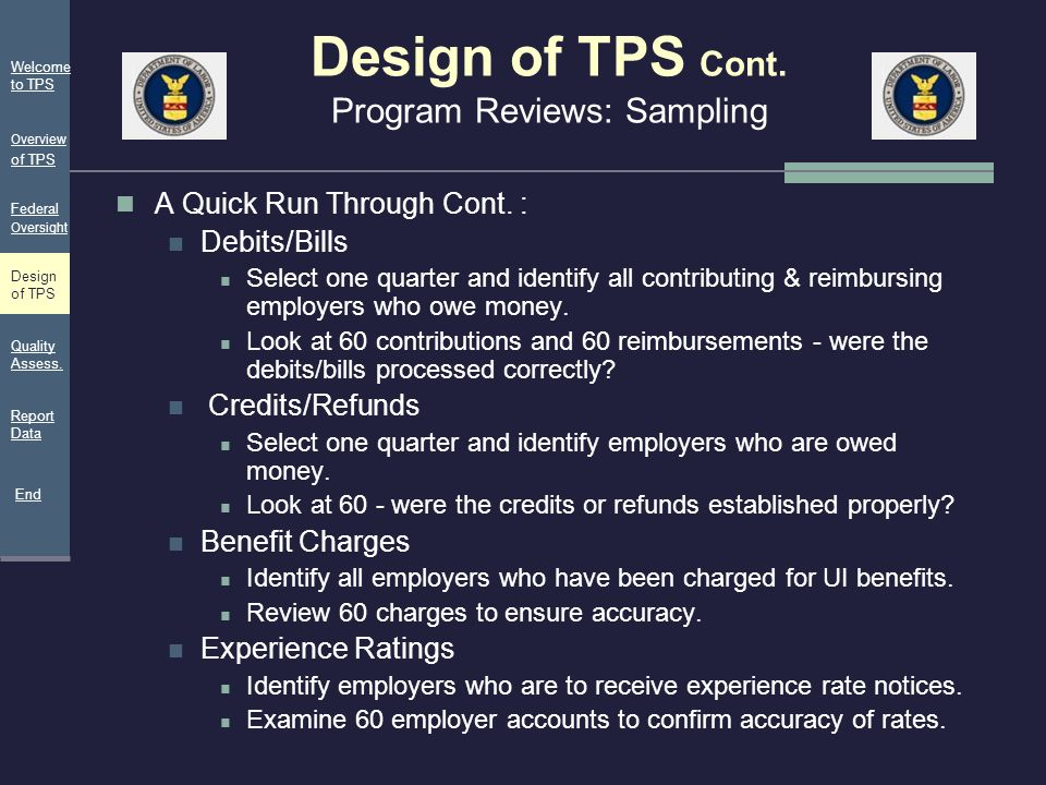 Design of TPS Cont. Program Reviews: Sampling