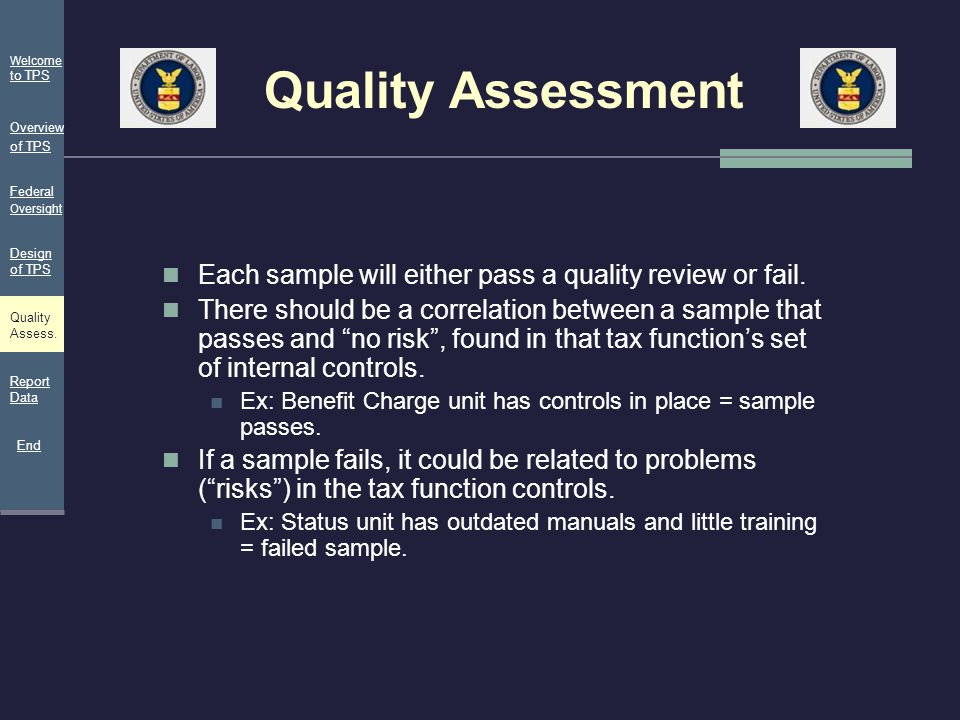 Quality Assessment Welcome to TPS. Overview of TPS. Federal Oversight. Design of TPS. Each sample will either pass a quality review or fail.