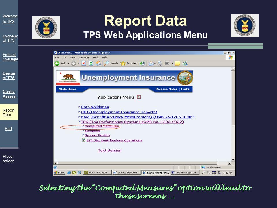 Report Data TPS Web Applications Menu