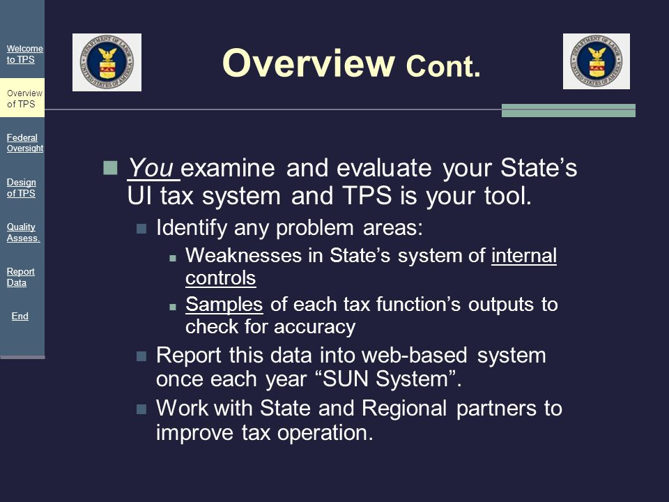 Overview Cont. Welcome. to TPS. Overview of TPS. Federal Oversight. You examine and evaluate your State's UI tax system and TPS is your tool.
