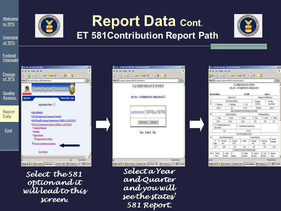 Report Data Cont. ET 581Contribution Report Path