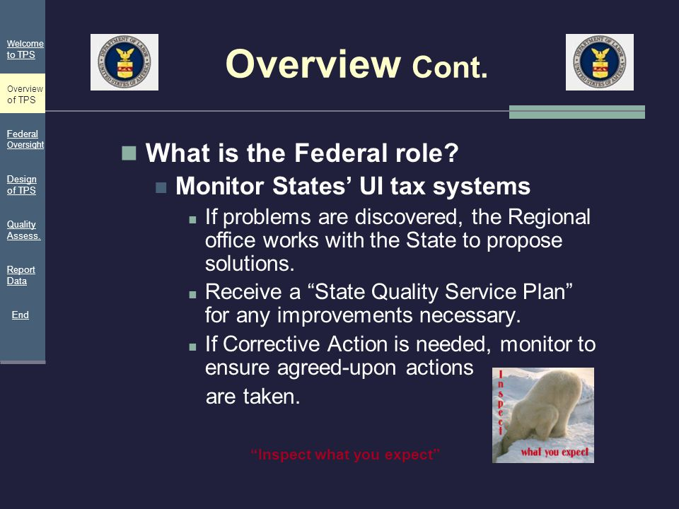 Overview Cont. What is the Federal role