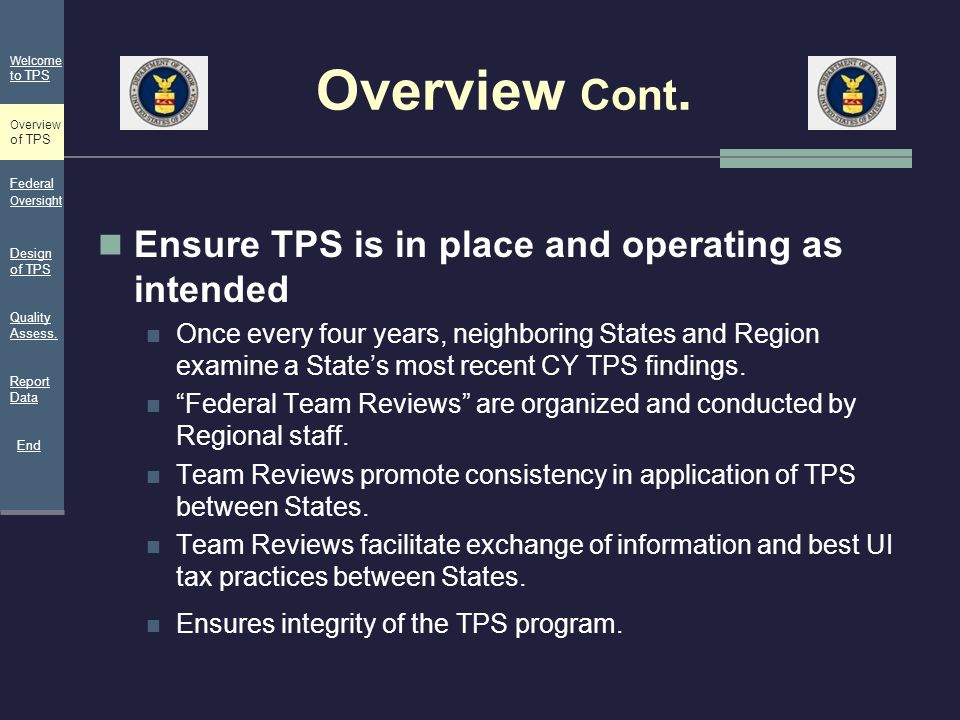 Overview Cont. Ensure TPS is in place and operating as intended