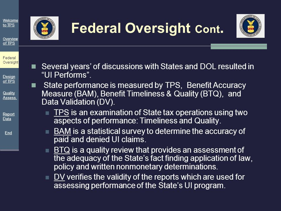 Federal Oversight Cont.