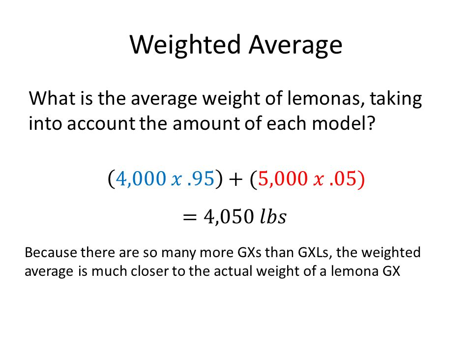 Weighted Average What is the average weight of lemonas, taking into account the amount of each model 4,000 𝑥 .95 +(5,000 𝑥 .05)
