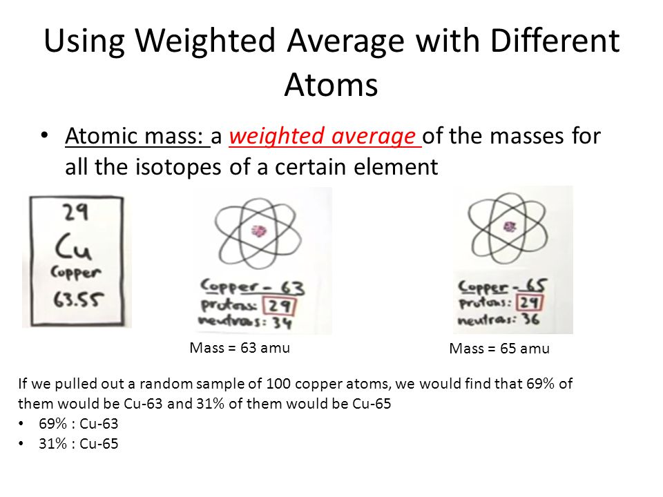 Using Weighted Average with Different Atoms