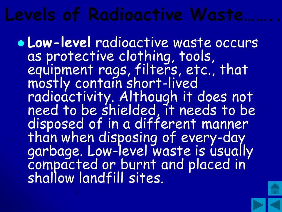 Levels of Radioactive Waste……..