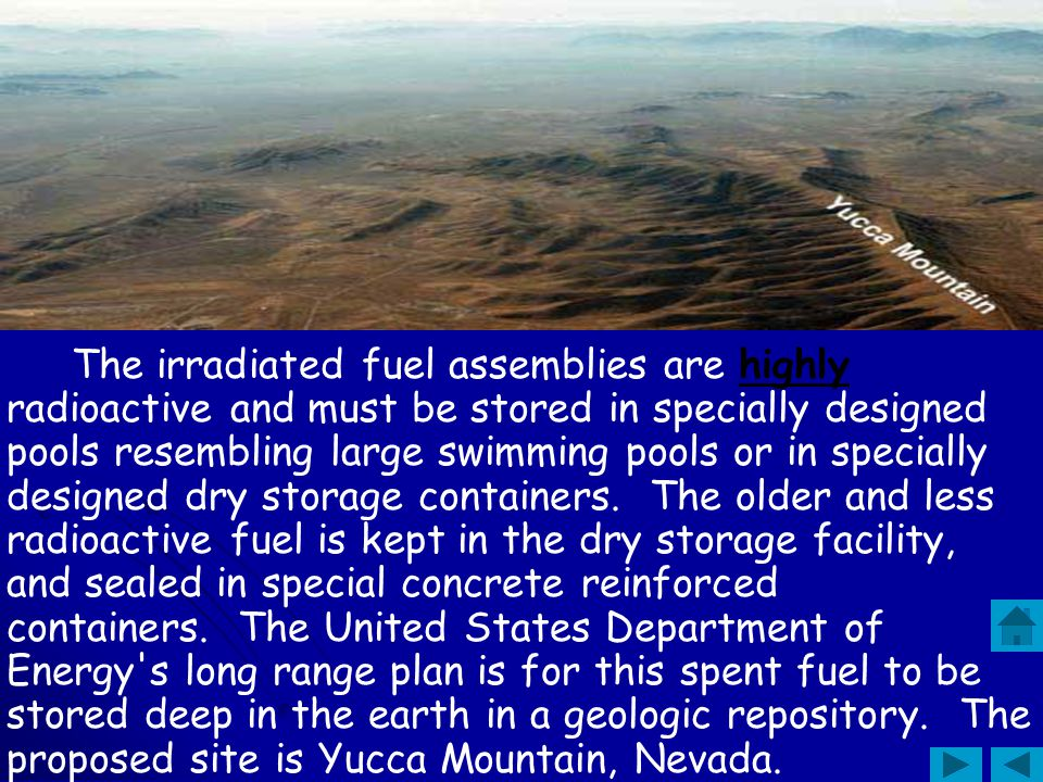 The irradiated fuel assemblies are highly radioactive and must be stored in specially designed pools resembling large swimming pools or in specially designed dry storage containers. The older and less radioactive fuel is kept in the dry storage facility, and sealed in special concrete reinforced containers. The United States Department of Energy s long range plan is for this spent fuel to be stored deep in the earth in a geologic repository. The proposed site is Yucca Mountain, Nevada.