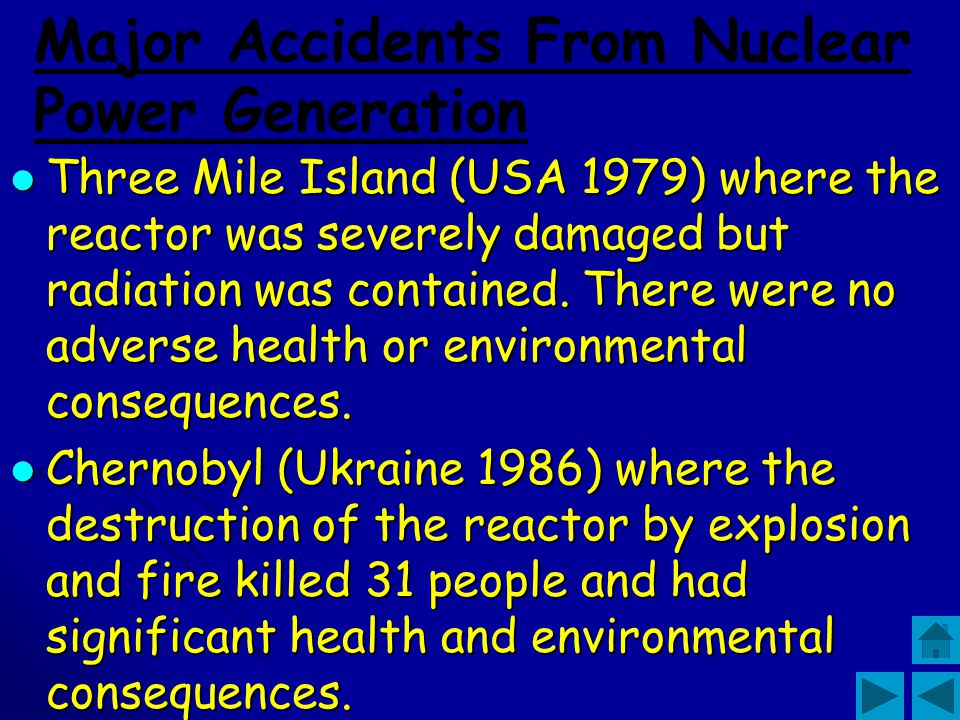Major Accidents From Nuclear Power Generation