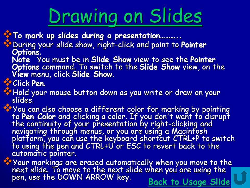 Drawing on Slides Back to Usage Slide