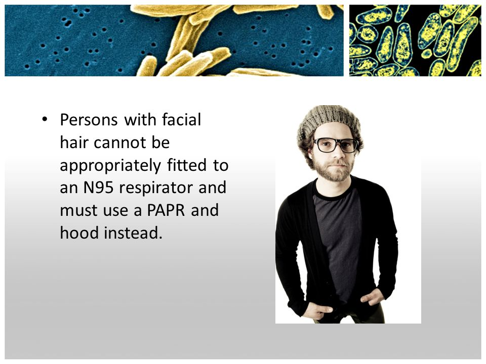 Persons with facial hair cannot be appropriately fitted to an N95 respirator and must use a PAPR and hood instead.
