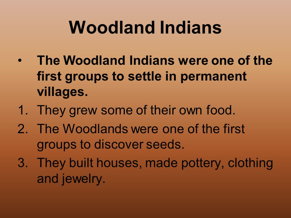 Woodland Indians The Woodland Indians were one of the first groups to settle in permanent villages.