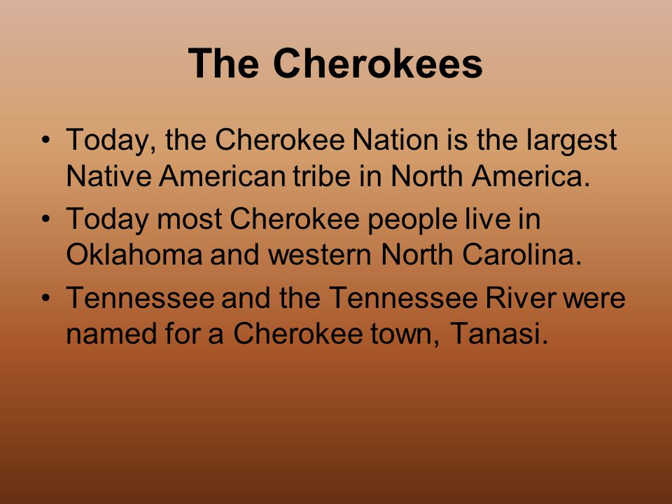 The Cherokees Today, the Cherokee Nation is the largest Native American tribe in North America.
