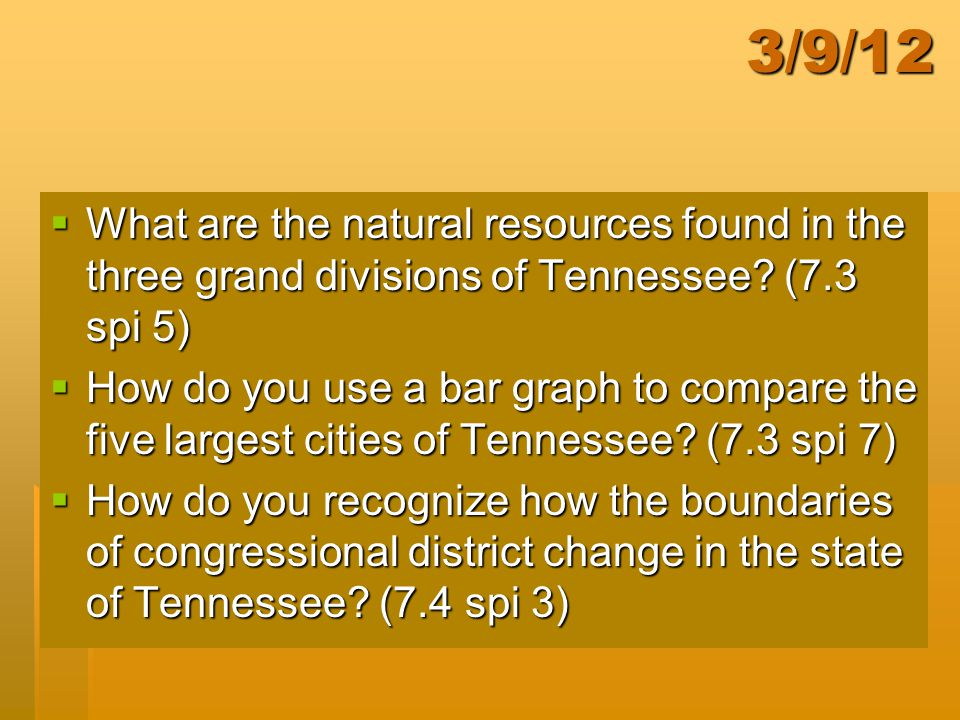 3/9/12 What are the natural resources found in the three grand divisions of Tennessee (7.3 spi 5)