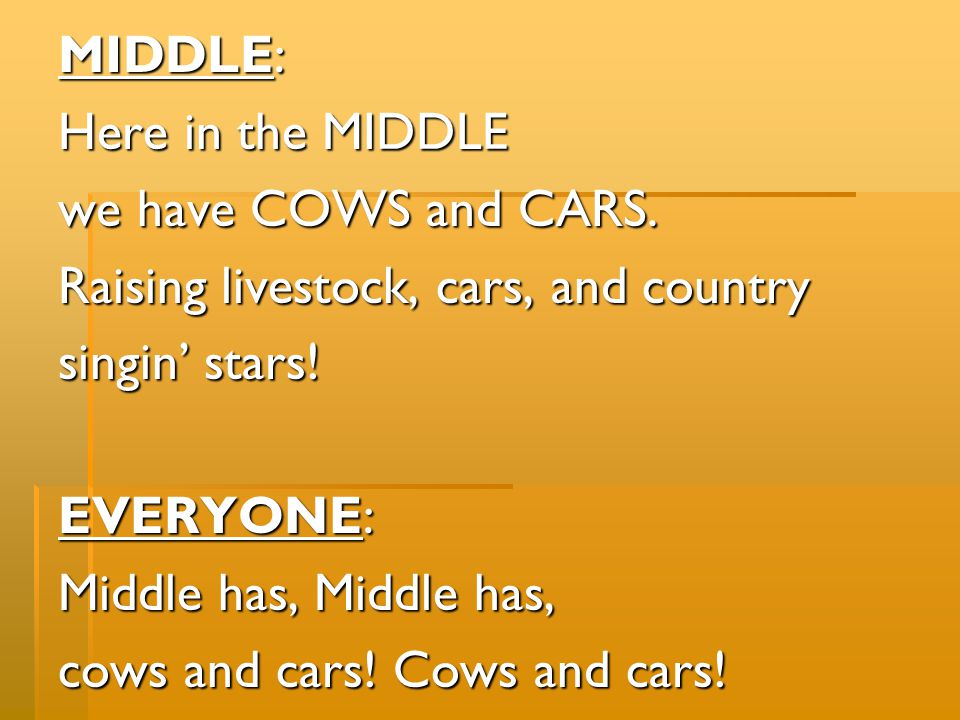 MIDDLE: Here in the MIDDLE. we have COWS and CARS. Raising livestock, cars, and country. singin' stars!