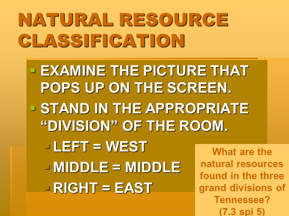 NATURAL RESOURCE CLASSIFICATION