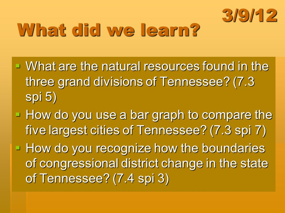 3/9/12 What did we learn What are the natural resources found in the three grand divisions of Tennessee (7.3 spi 5)