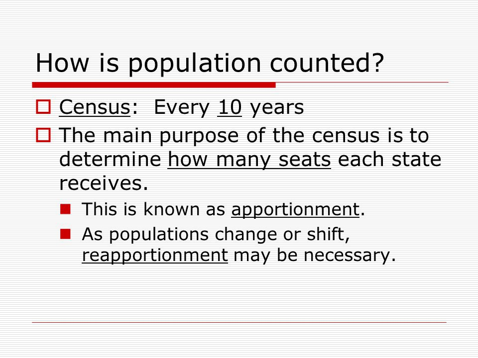 How is population counted