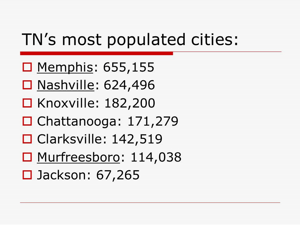 TN's most populated cities: