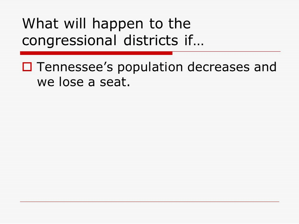 What will happen to the congressional districts if…