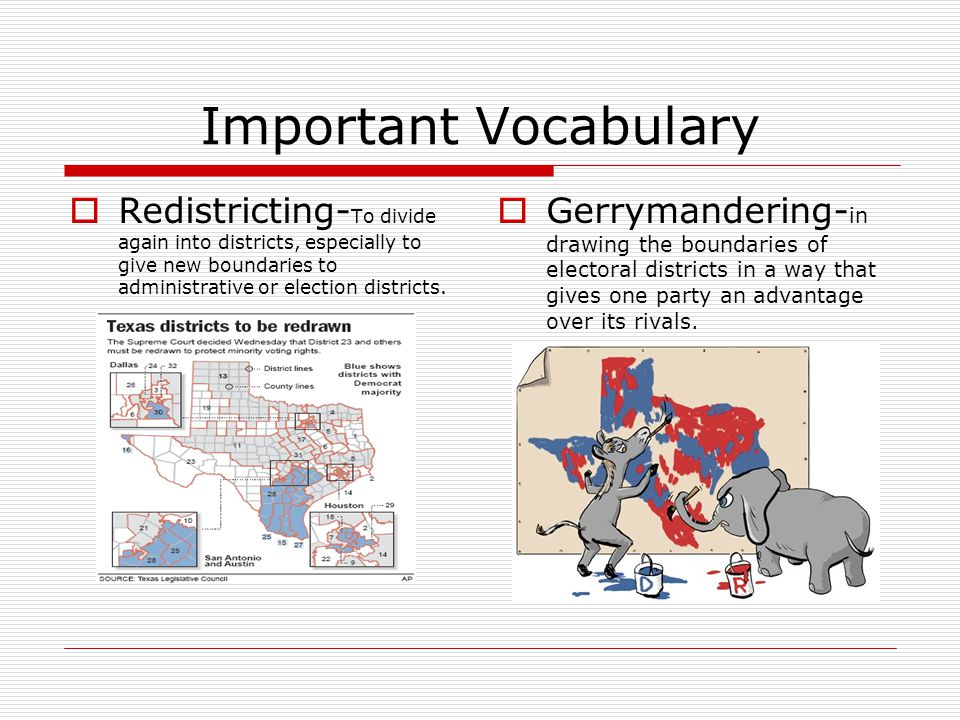 Important Vocabulary Redistricting-To divide again into districts, especially to give new boundaries to administrative or election districts.
