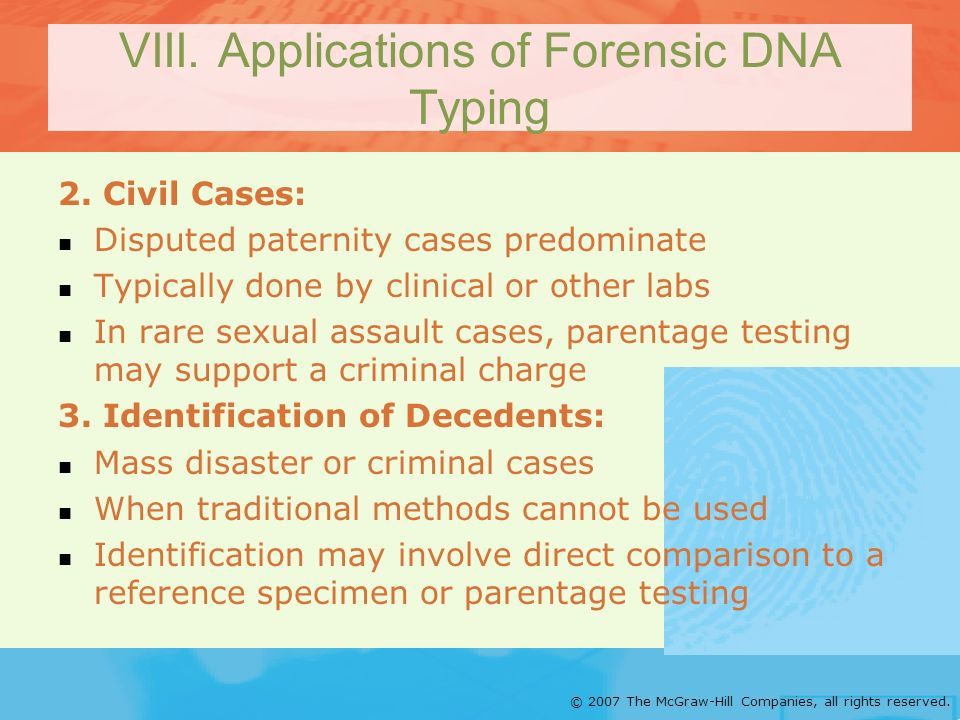 VIII. Applications of Forensic DNA Typing
