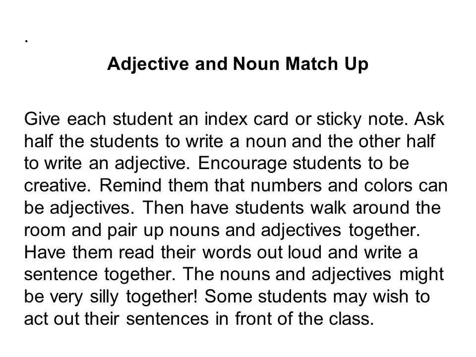 Adjective and Noun Match Up