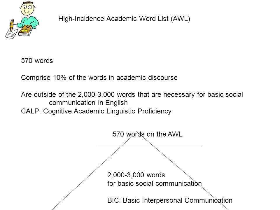 High-Incidence Academic Word List (AWL)