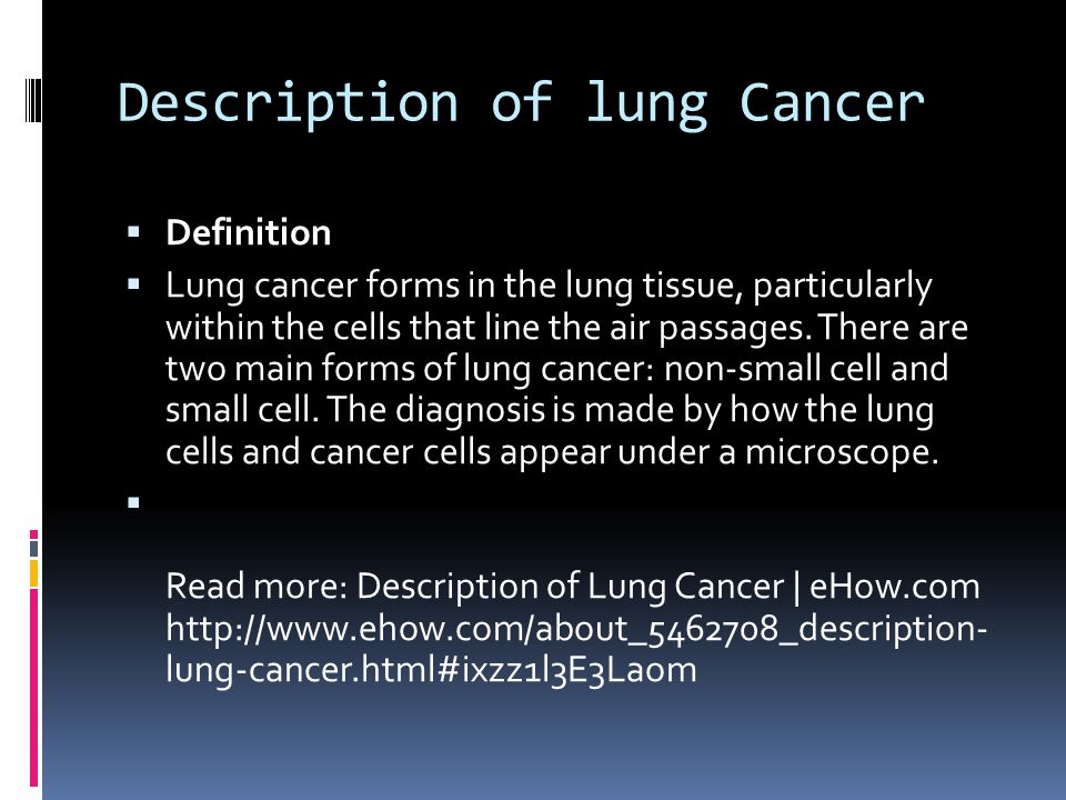 Description of lung Cancer