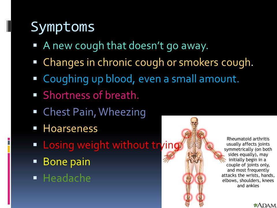 Symptoms A new cough that doesn't go away.