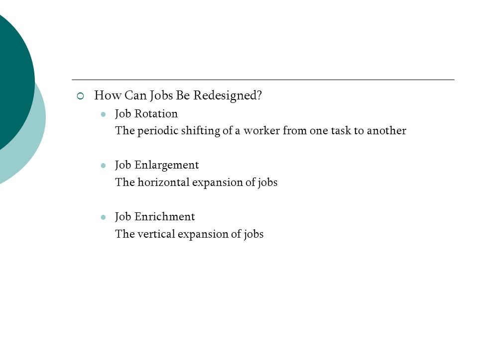 How Can Jobs Be Redesigned