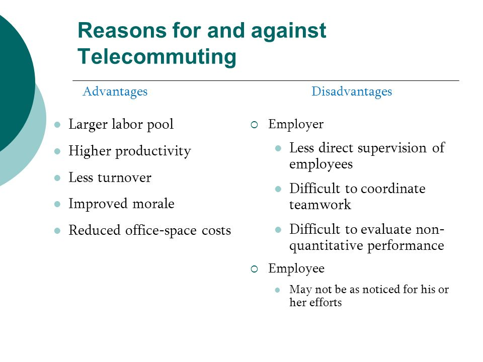 Reasons for and against Telecommuting