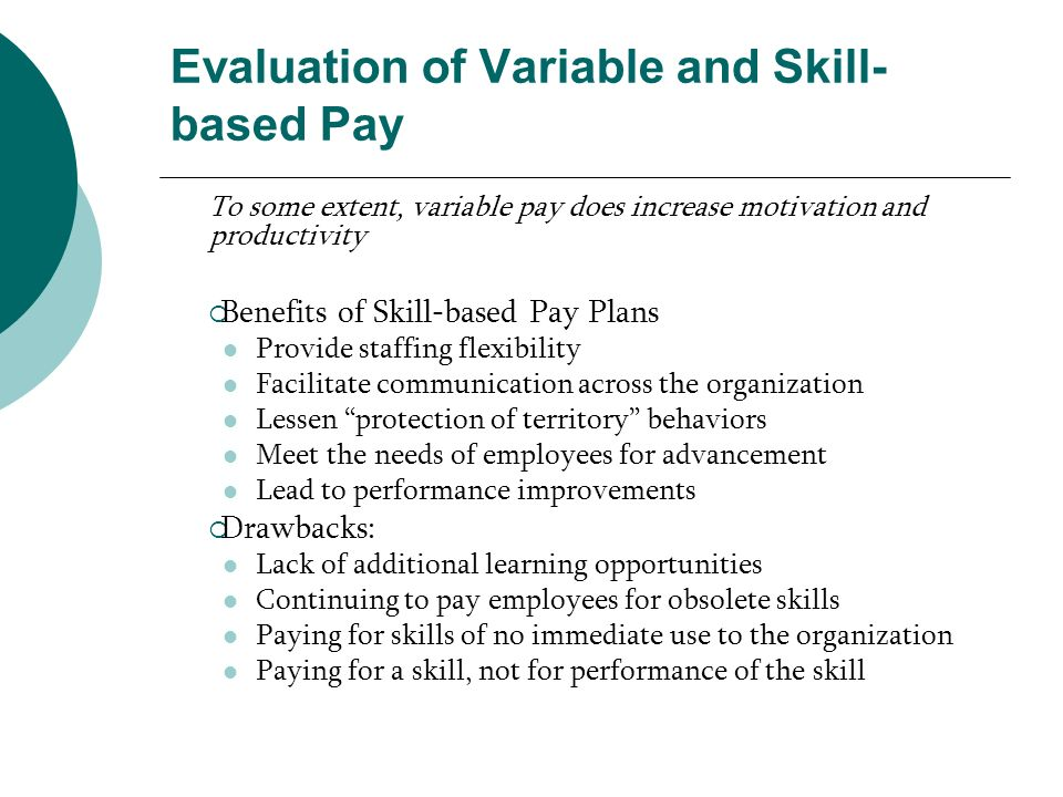 skill based pay Performance-based pay is a highly effective strategy for increasing motivation among employees although financial rewards aren't the only things that motivate employees, they can be very effective when properly implemented.