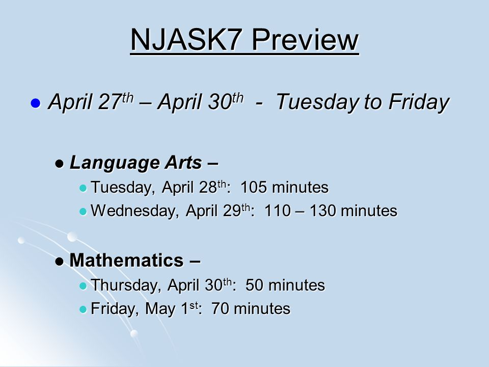 NJASK7 Preview April 27th – April 30th - Tuesday to Friday