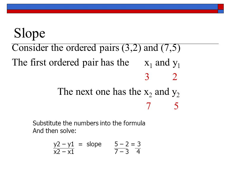 Slope Consider the ordered pairs (3,2) and (7,5)